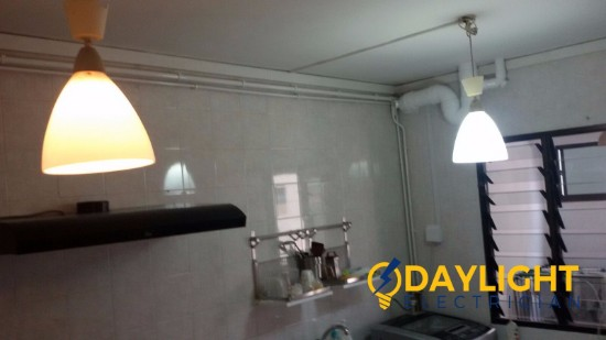 Install-pendant-lights-electrician-singapore-HDB-canberra-road-sembawang